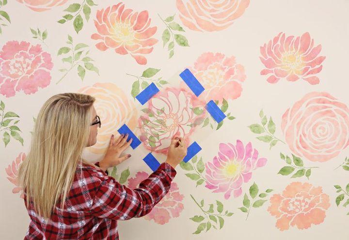 a floral watercolor wallpaper hack using reusable stencils