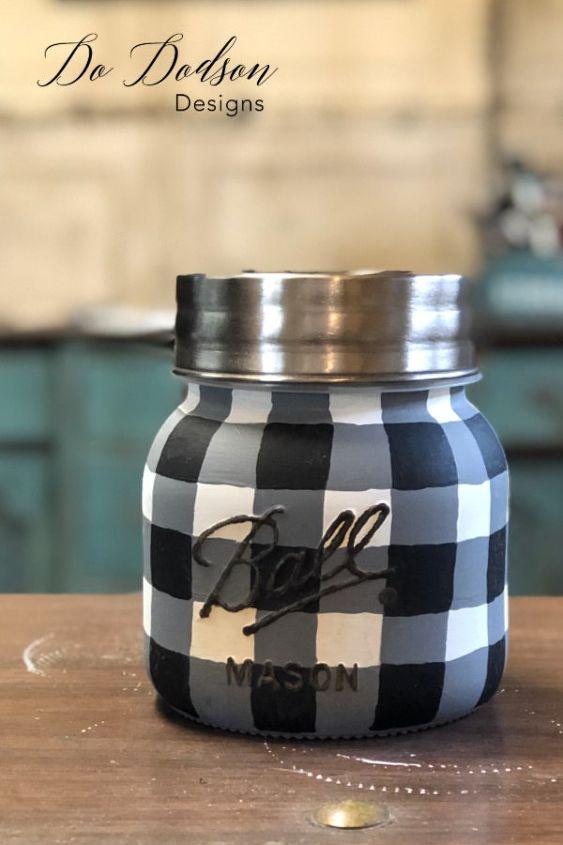 easy how to paint buffalo plaid mason jar
