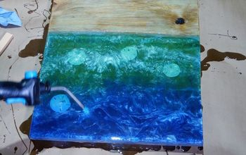 wood resin 3d beach art with embedded objects