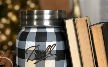 how to paint a buffalo plaid mason jar