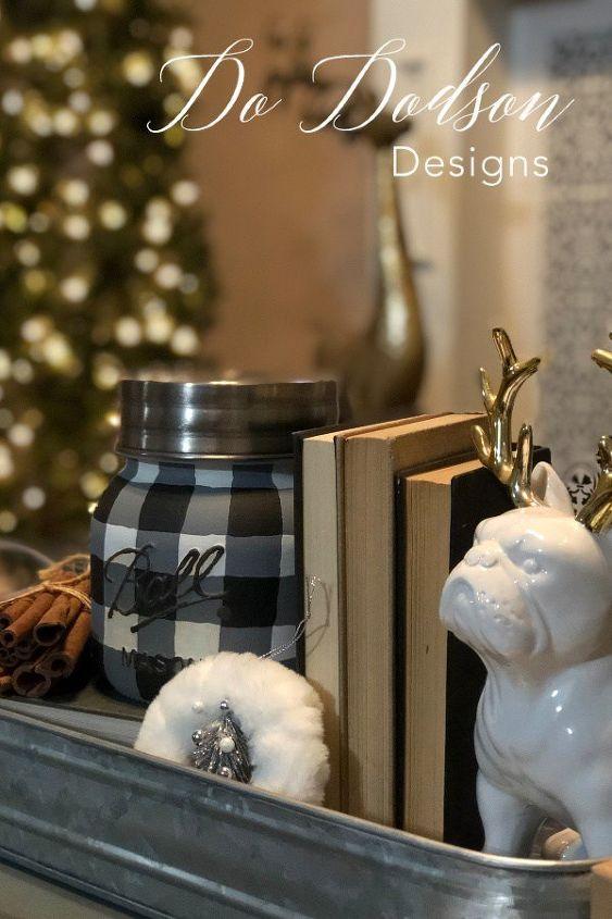 how to paint a buffalo plaid mason jar