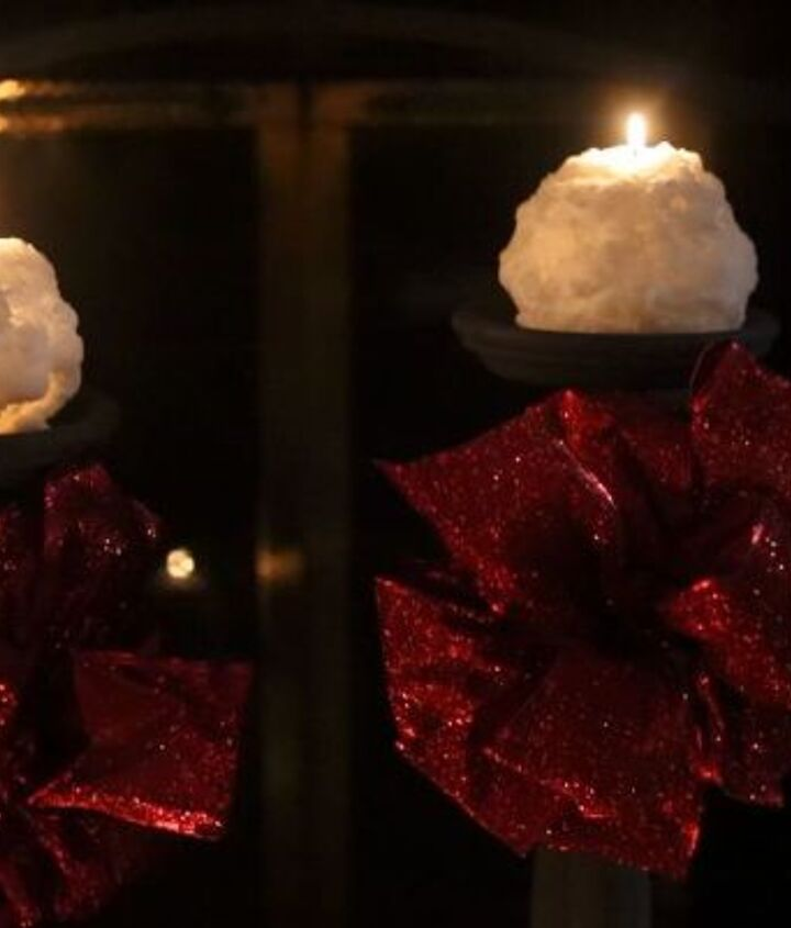 dress up plain candles for this stunning winter idea