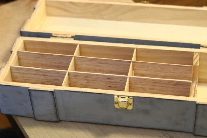 essential oil storage box upcycled from wine box