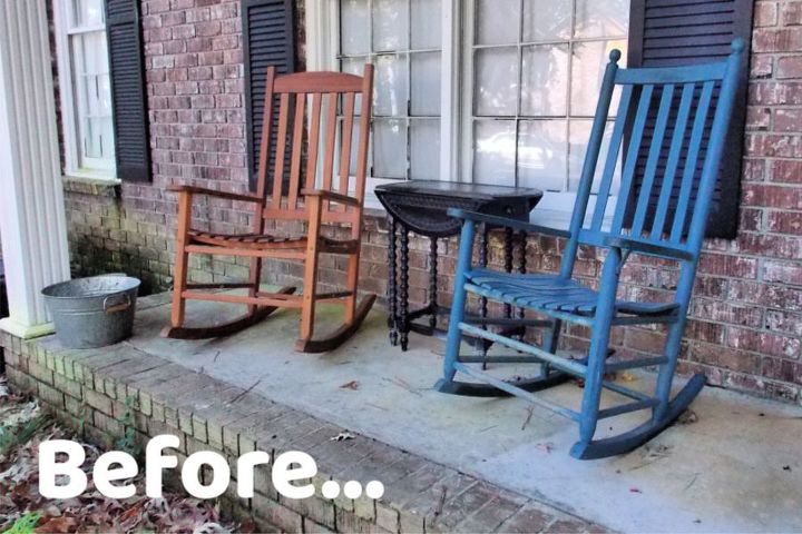 painting rocking chairs for a front porch update