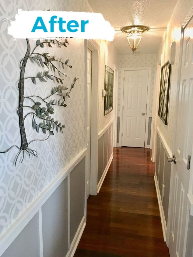 stenciled hallway finally finished