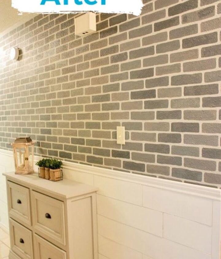 a diy stenciled brick hallway accent wall