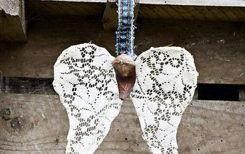 Upcycled Doily Angel Wings Ornament