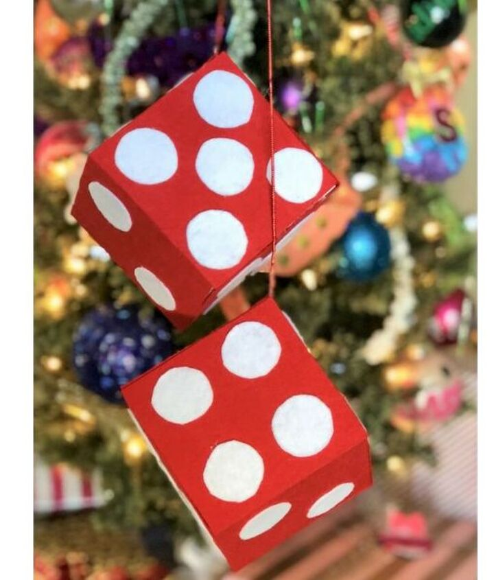 christmas fuzzy dice gift wrap