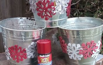 galvanized metal pails turned outdoor winter planters makeover