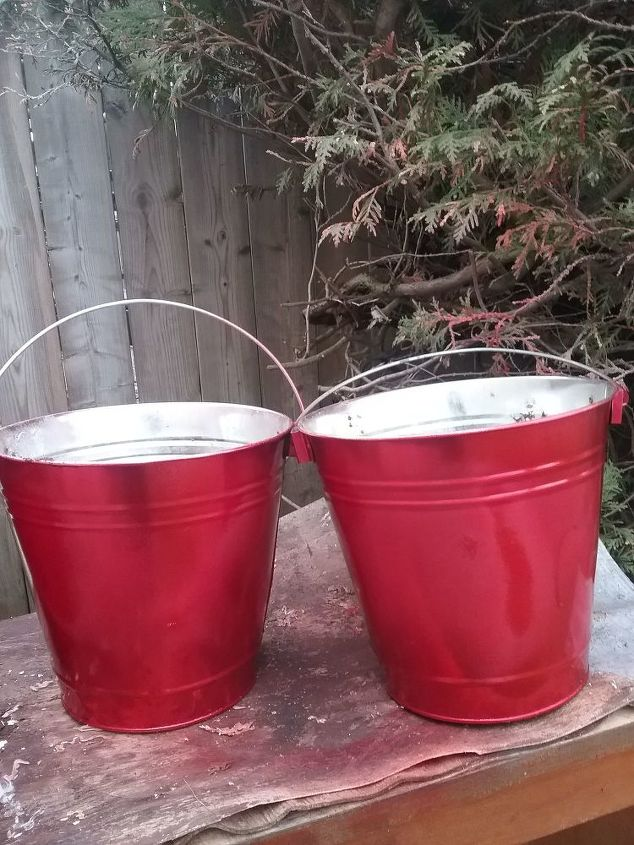 Galvanized Metal Pails Turned Outdoor Winter Planters Makeover | Hometalk