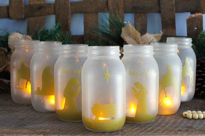 christmas jars a glowing nativity scene