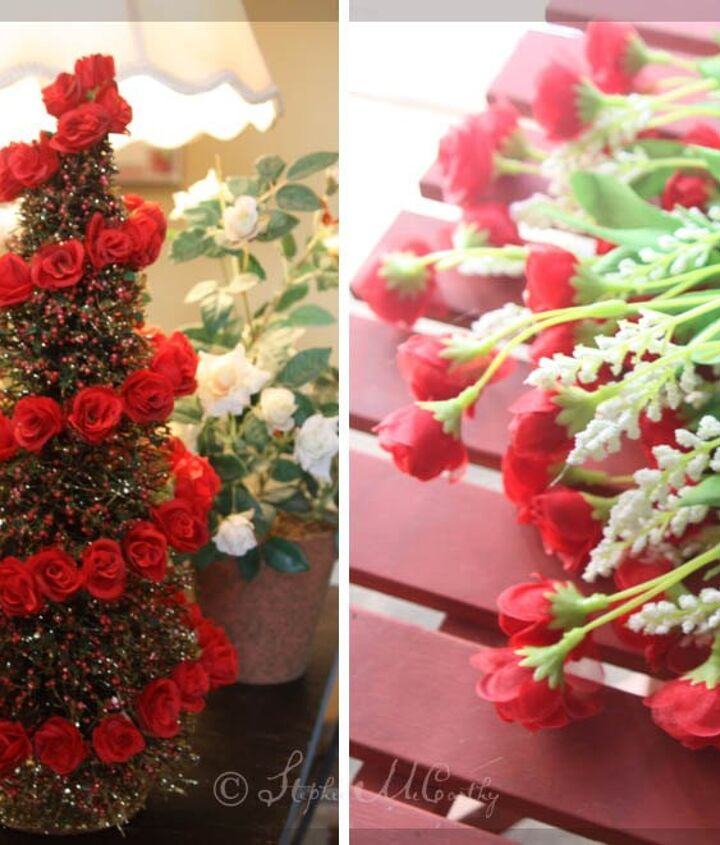 christmas bottle brush tree with rose spiral
