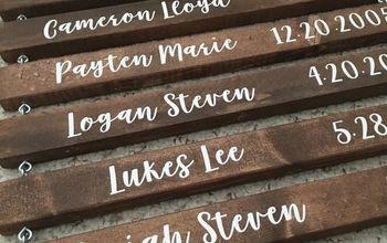 DIY Grandma Sign - Grandchildren's Names and Birthdates