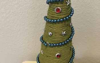 one failed craft project now a beautiful rope christmas tree, Finished up tree with dove topper