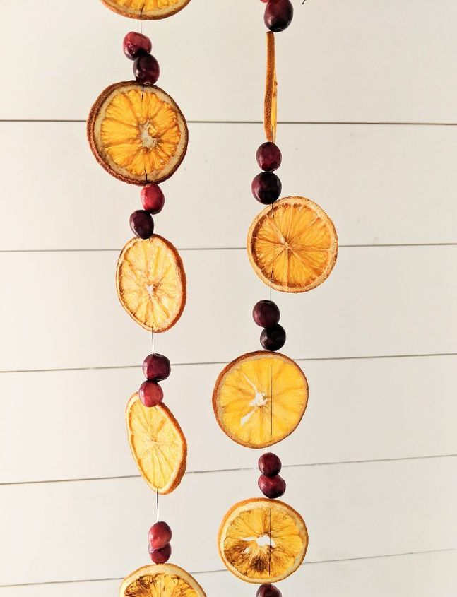 dried orange and cranberry christmas garland budget friendly