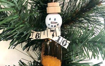 Recycled Amber Bottle Snowmen