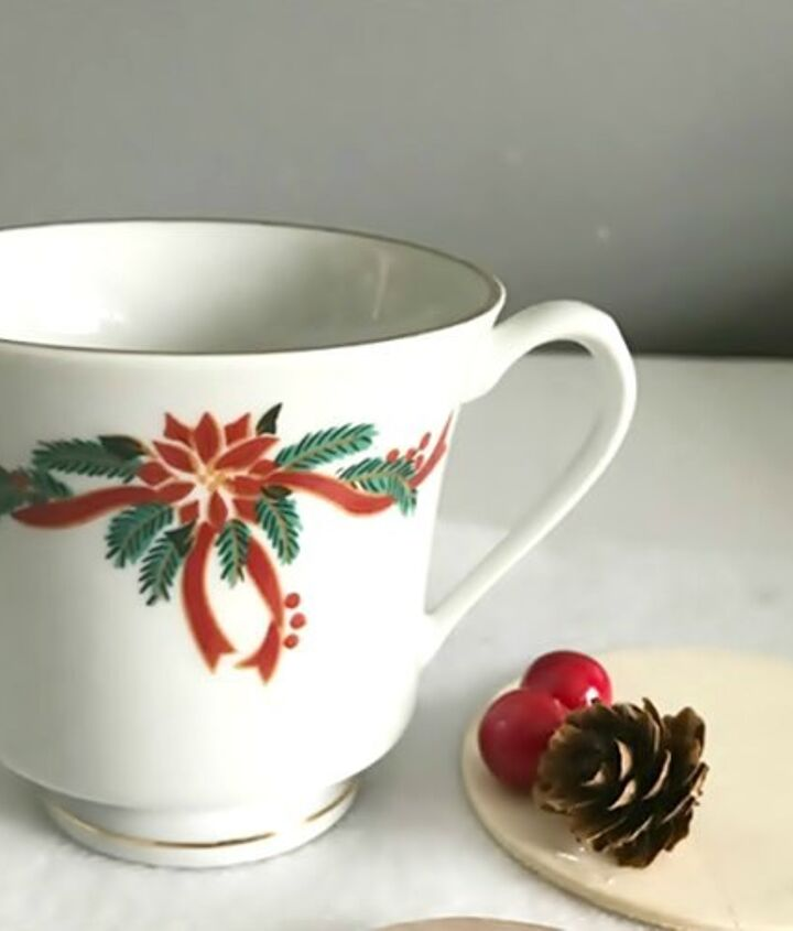 christmas tea cup candy dish