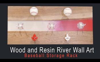 DIY Wood and Resin River Wall Art - Baseball Storage Rack
