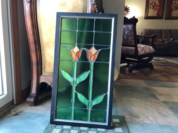 q what would you do with this framed stained glass piece