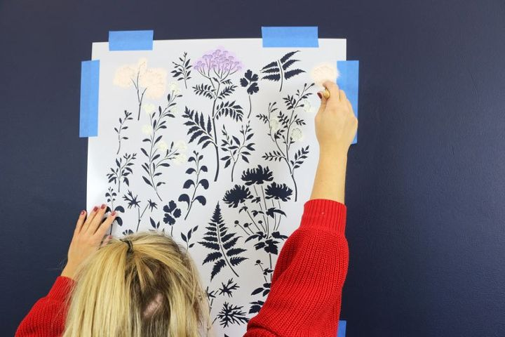 how to stencil a trendy dark floral wall