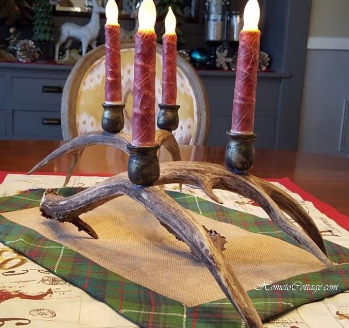 diy deer antler candle holders