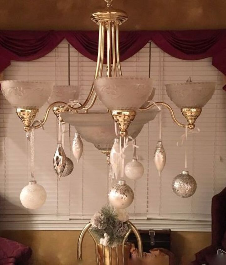 decorate your chandelier with christmas ornaments