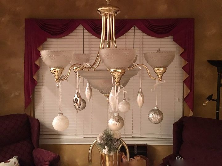 How To Decorate Your Chandelier With Christmas Ornaments Diy Hometalk