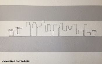 Hand-drawn City Skyline on Knockdown Textured Wall
