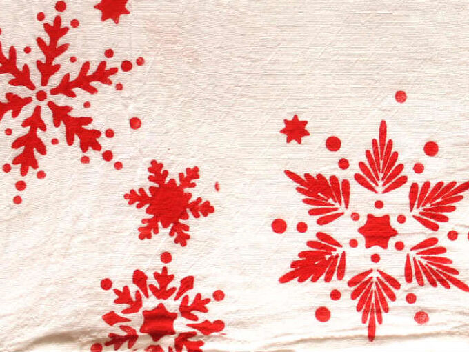 how to stencil on fabric and paper, Flour Sack Tea Towel stenciled in snowflakes