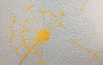 Hand-painted Dandelions on Knockdown Textured Wall