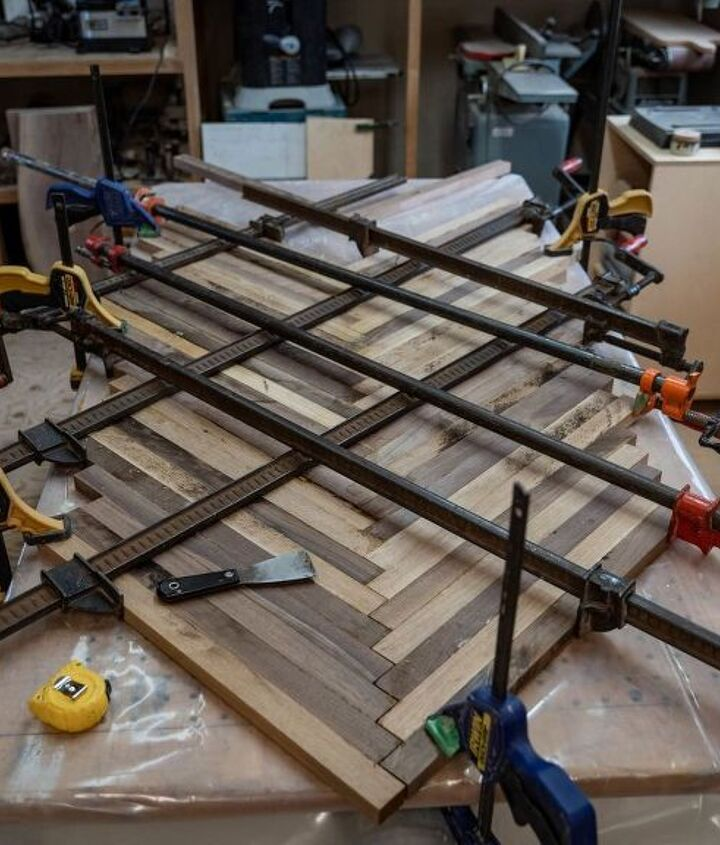 how to make a herringbone coffee table out of scrap wood