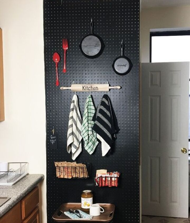 s 19 ways to organize your kitchen this new years, Peg Board Kitchen Storage Wall