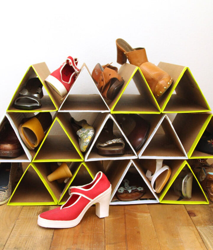s 8 ways to turn cardboard boxes into beautiful storage for your home, DIY Super Space Saving Shoe Rack