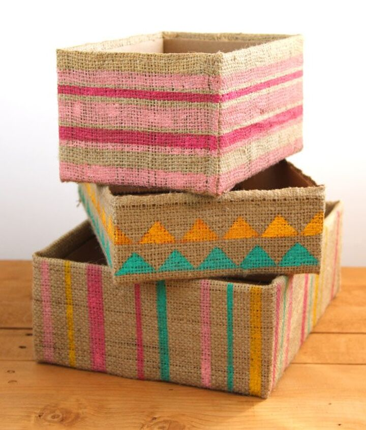 s 8 ways to turn cardboard boxes into beautiful storage for your home, Make them beautiful with burlap and paint