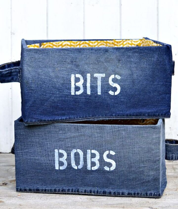 s 8 ways to turn cardboard boxes into beautiful storage for your home, Cover them with old Jeans