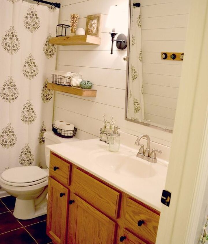 s 20 satisfying room transformations, Faux Shiplap Bathroom Makeover