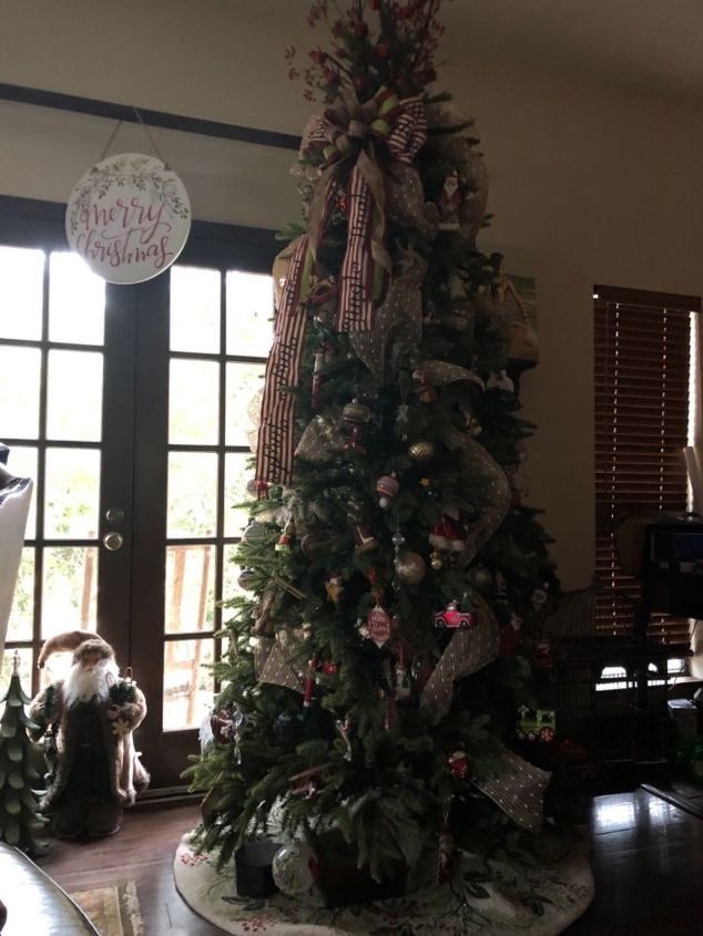 q storing a decorated christmas tree