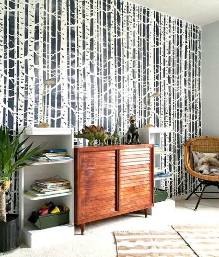 s 30 more popular ways to transform a room for 2019, A Birch Forest Stenciled Boys Bedroom Makeove