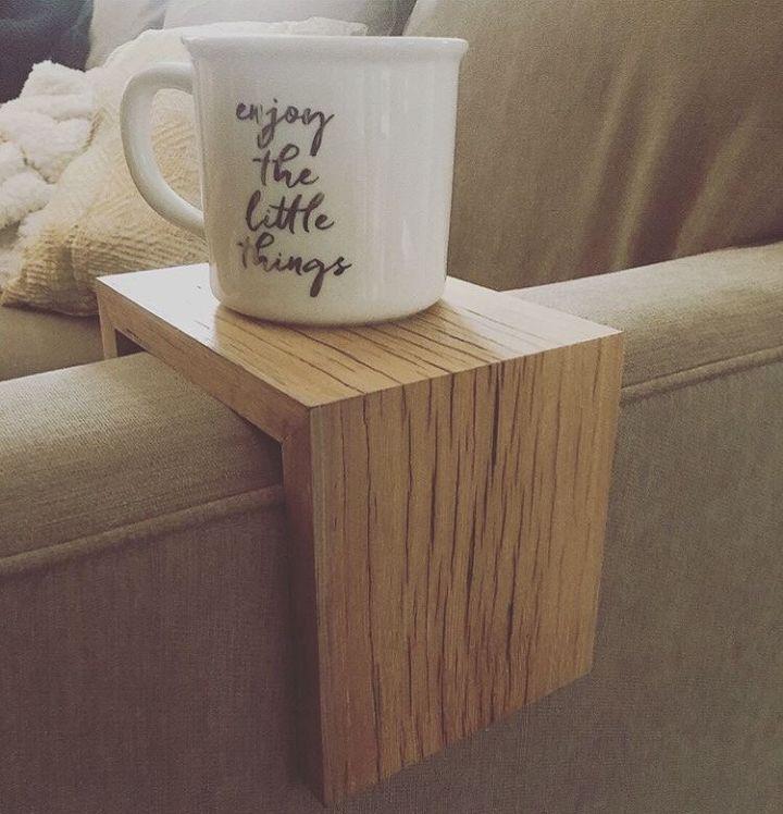 Build A Diy Sofa Arm Table Hometalk