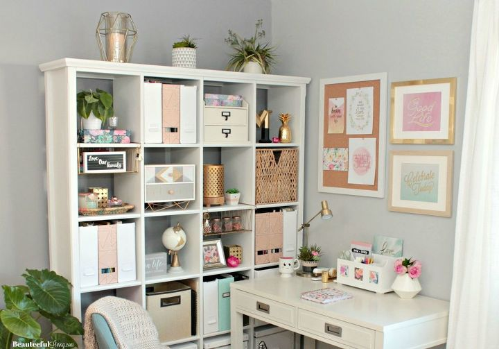 glam office makeover wasted corner space to functional glam office