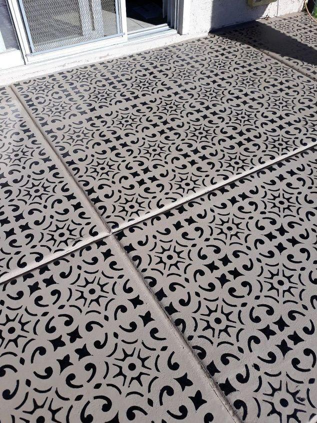dramatic patio stenciled floor