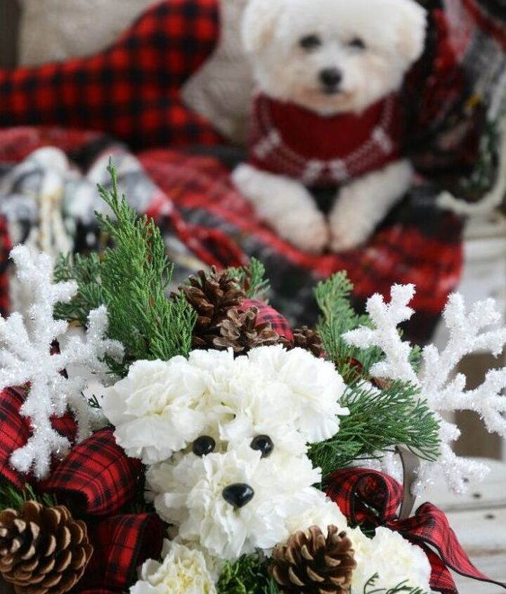 puppy bouquet flower arrangement
