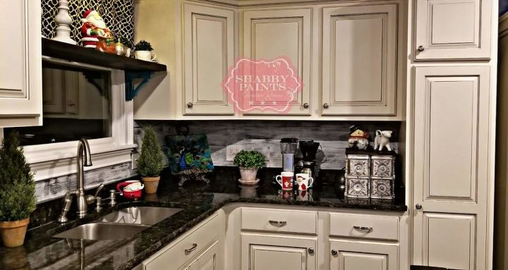 Free backsplash using leftover vinyl flooring