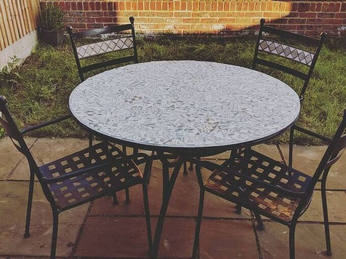 mosaic garden table, Finished result