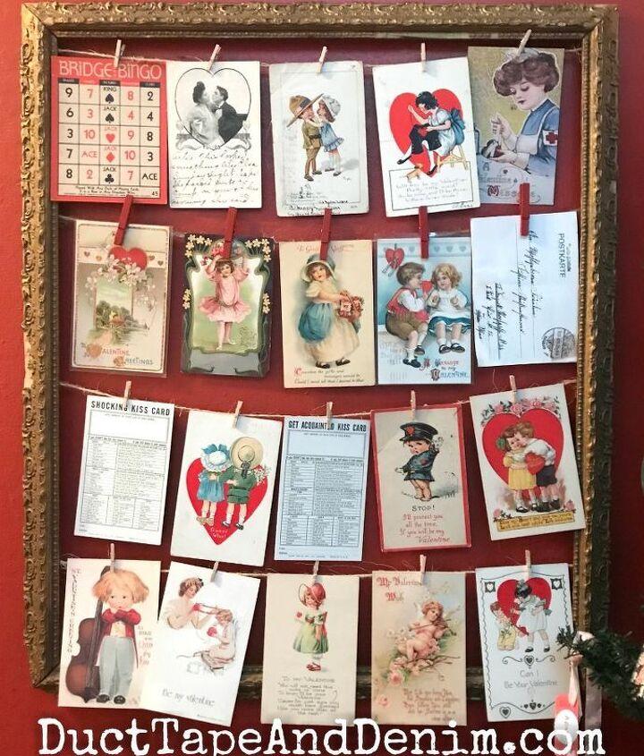 how to display vintage valentine postcards