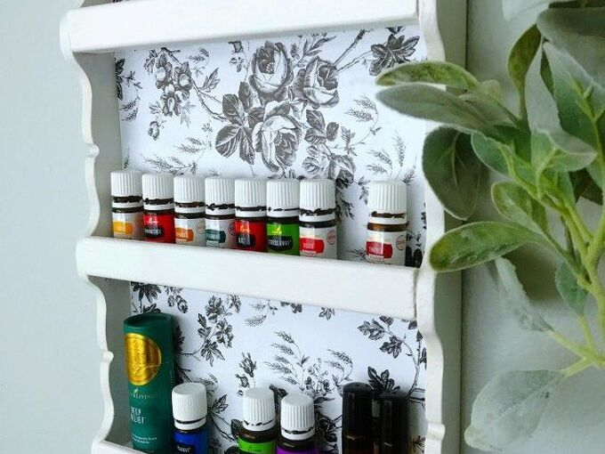 create an essential oil shelf from a thrifted spoon display
