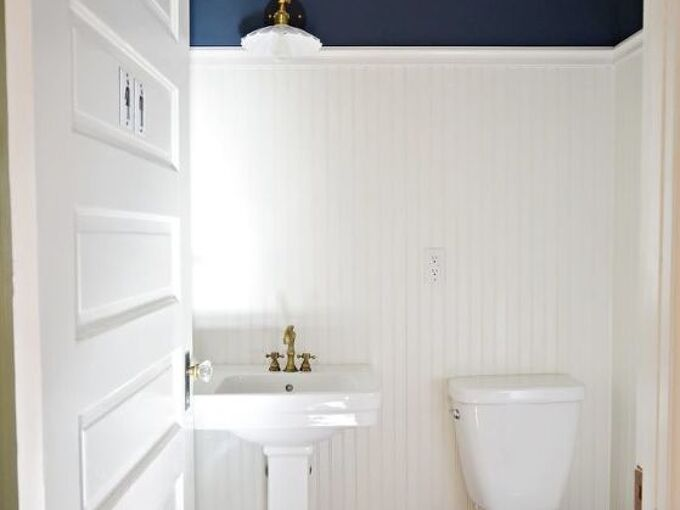 how we installed beadboard planks in our half bathroom