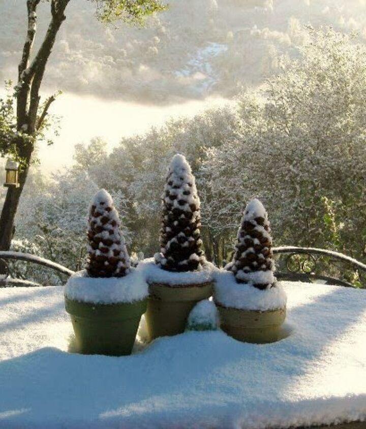 diy pine cone trees for winter decor