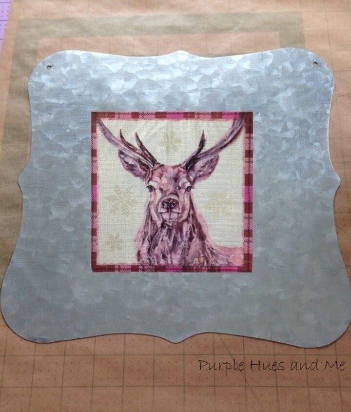 checkered plaid decoupage deer plaque diy