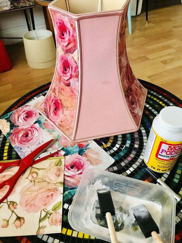 use Matte Modpodge to stick roses on shade